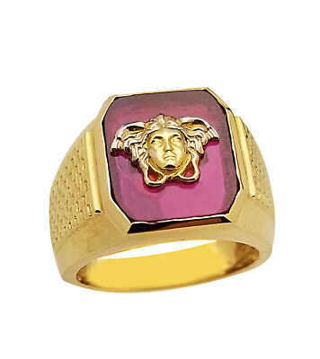 10K Yellow Gold Men's Versace Ring Medusa Face Pinky Ring Size 6