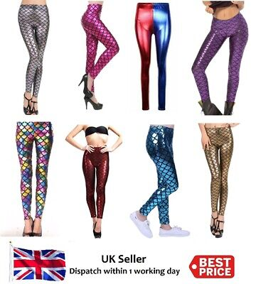 Ladies Plus Size Disco Leggings Metallic Mermaid Shiny Fish Tail Scales Stretchy ()