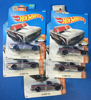 Lot of 5 Hot Wheels '67 CHEVY C10 Trucks in Zamac  *Packages Damaged*