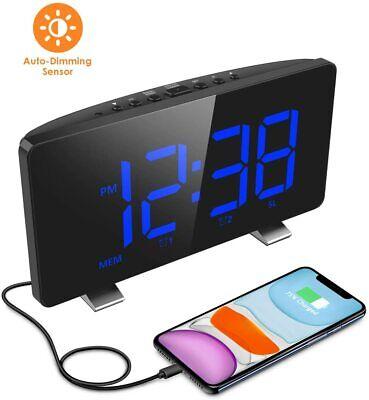Digital Alarm Clock for Bedrooms with FM Radio, Dual Alarms, 6.7'' LED Screen, U