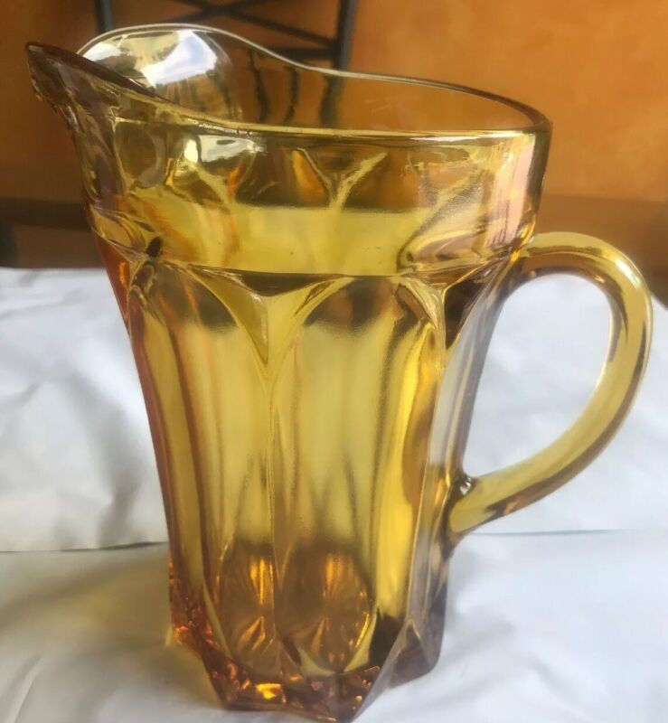 Amber glass pitcher Vintage