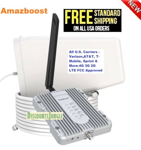 Amazboost Cell Phone Signal Booster Kit 2,500/SF Stronger Signal All US carriers