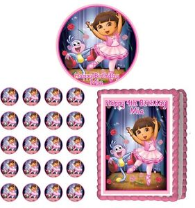 Dora ballerina edible cake topper cupcake image decoration for Angelina ballerina edible cake topper decoration sale