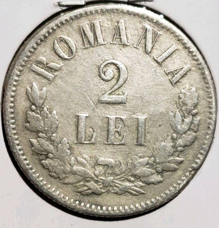 Romania 1872 2 lei Carol  I  Silver. Scarce