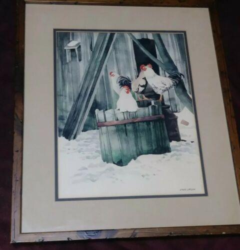 Folk Art Original Watercolor Painting David Larson Listed Artist Signed Chickens - $150.00
