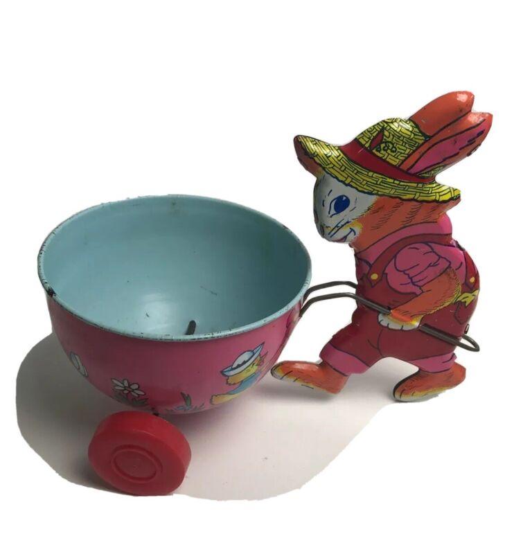 Vintage Easter Tin Wagon w/Bunny J. Chein USA The Litho Rabbit Pulling Wagon