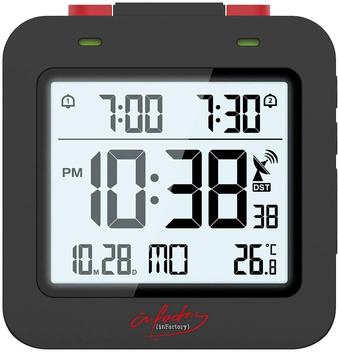 Digitaler Reise Funkwecker mit Thermometer Datum 2 Weckzeiten Display beleuchtet