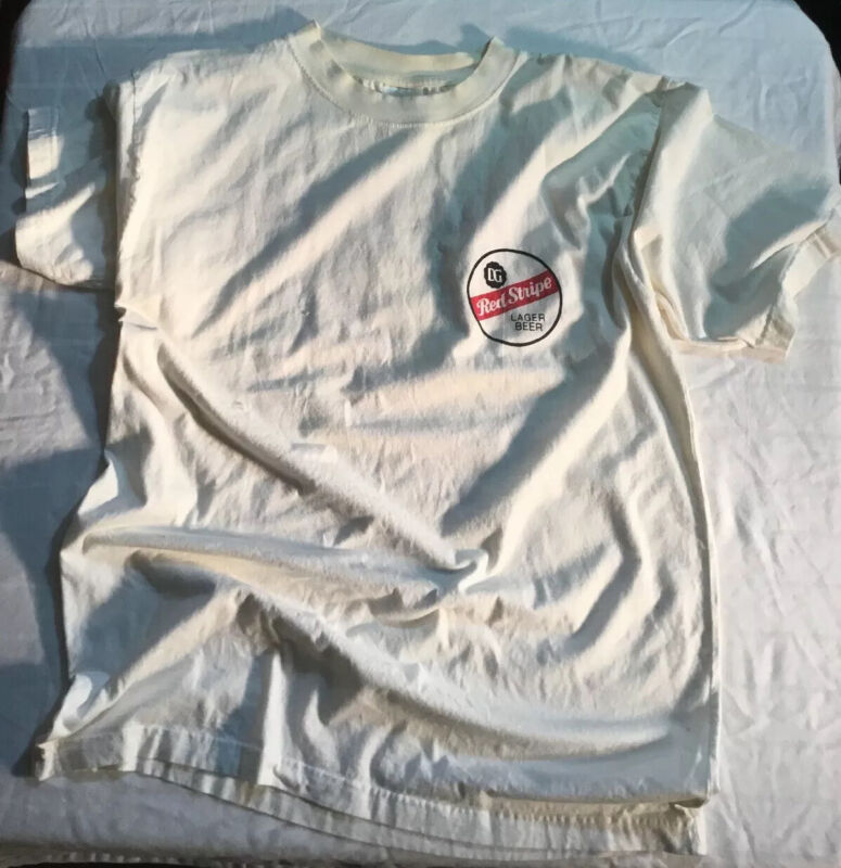 RED STRIPE Beer T Shirt Adult Size L To XL White Short Sleeve Tee JAMAICA