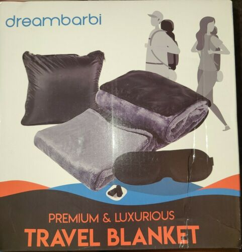 4 Piece Comfort Travel Set Blanket, Sleep Mask, Pillow, Ear Plugs By DREAMBARBI - $19.99