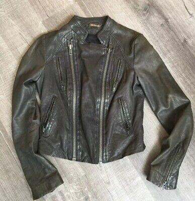 Anthropologie Line Dot Gorgeous Lambskin Biker Leather Jacket Lined Lambskin Leather