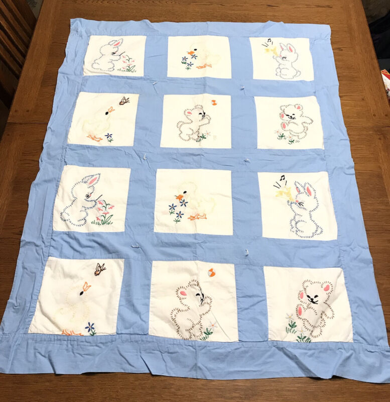 """Embroidered Blue Baby Quilt  Blocks, Rabbits Ducks Bears 41"""" X 32"""""""
