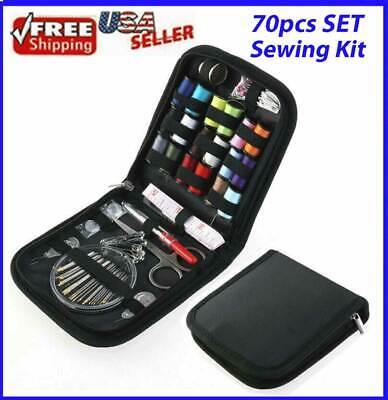 70pcs Sewing Kit Thread Threader Needle Tape Measure Scissor Thimble Home Travel
