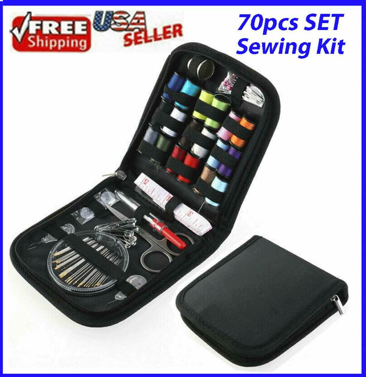 70pcs Sewing Kit Thread Threader Needle Tape Measure Scissor Thimble Home Travel Collectibles