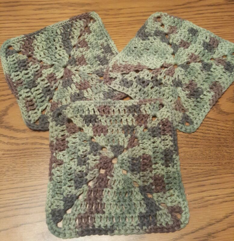 Set Of 3 100% Cotton Hand Crocheted Thick Camouflage Dish Wash Cloths