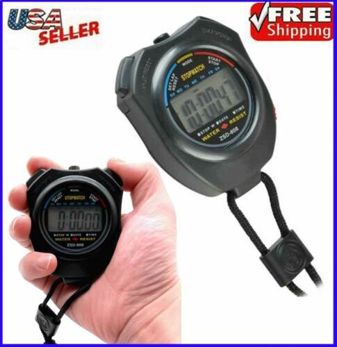 Stopwatch Digital LCD Waterproof Sports Counter Chronograph Timer Odometer Watch
