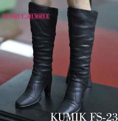 KUMIK 1/6 Black Widow Catwoman Long Boots FS23 For Hot Toys SHIP FROM USA (Hot Widow Boots)