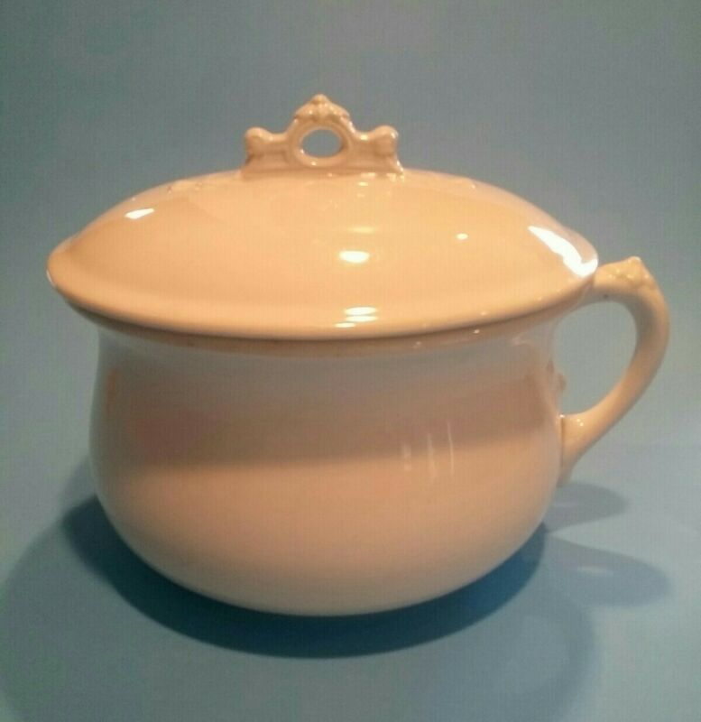 Antique Royal Ironstone China White Chamber Pot  With Lid Johnson Bros. England
