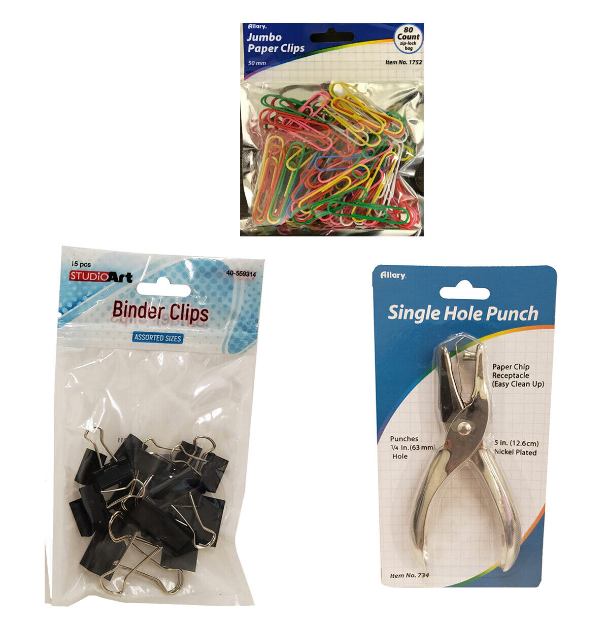 Set of 3 Office Supply Single Hole Punch & 80pcs Paper Clip & 15pcs Binder Clip Business & Industrial