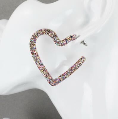 Sparkly Heart (Confetti sparkly hoop earrings Heart plastic glitter post hoops acrylic)