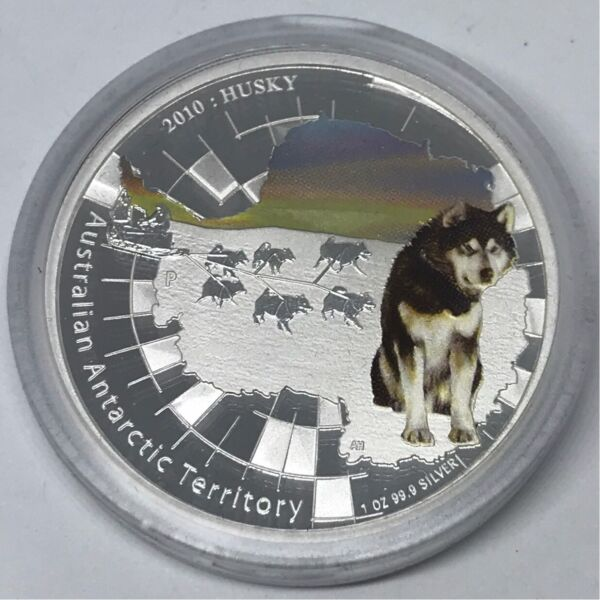 2010 ANTARCTIC SERIES HUSKY Silver Proof Coin