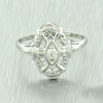 1940s Jewelry Styles and History 1940s Antique Art Deco Ladies 14k Solid White Gold 0.10ctw Diamond Filigree Ring $199.99 AT vintagedancer.com