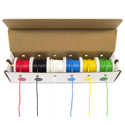22 Gauge Hook-up Wire Kit - Solid Tinned Copper Wire Six 25 Foot Spools