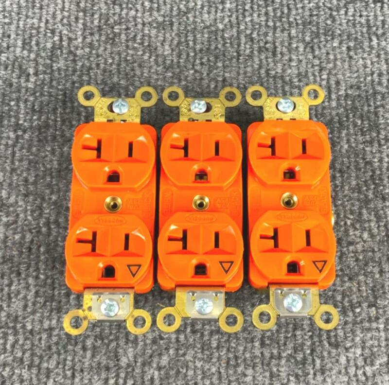 Pack of 3 Hubbell Orange Duplex Receptacle Isolated Ground 20 Amp 125 VAC