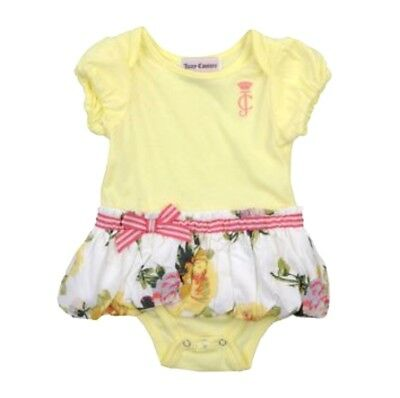 Juicy Couture Girls Skirted Bodysuit Sz 3/6 Months Yellow Flowers NWT
