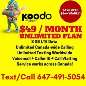 Koodo 8GB LTE DATA Plan • UNLIMITED • $49/Month NO CONTRACT!