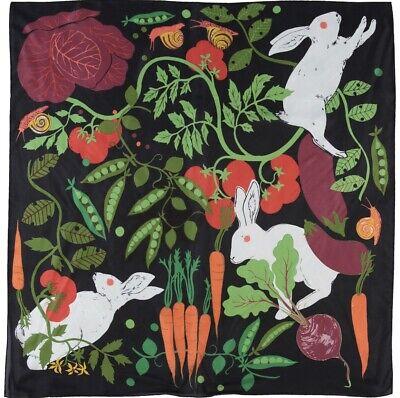 KAREN MABON Rabbits In The Allotment Large Silk Scarf BNWT