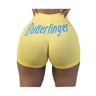 *NEW* Womens Butterfinger Booty Shorts Plus Size 3XL Snack Candy Hot Pants Yoga