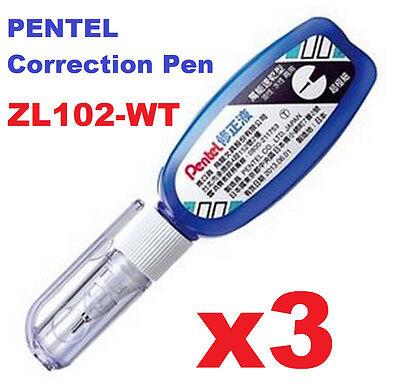 3x Pentel Correction Fluid Pen White Out Fine Point Tip Correct Zl102-wt Japan
