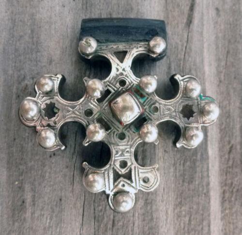 (B) Antique Tuareg Cross of Trarza Silver Wood Mauritania #2