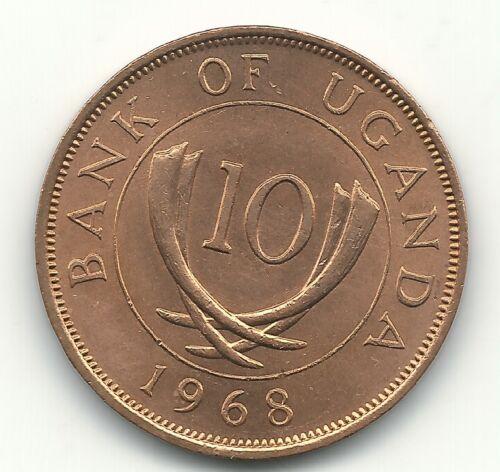 HIGH GRADE BU 1968 UGHANDA 10 CENTS-APR110