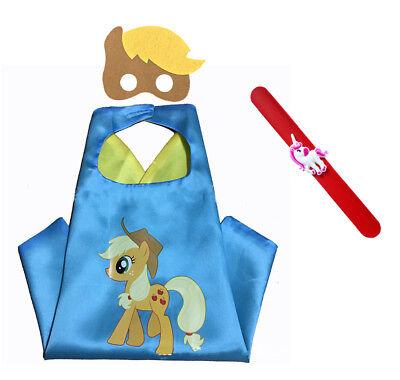 My Little Pony Applejack Costume (Apple Jack My Little Pony Costume Set—Cape Mask and Pops Ring Age 4-10)