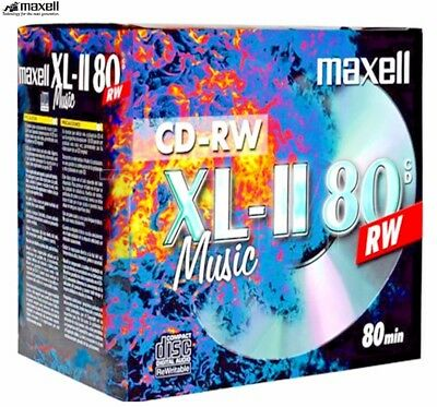 MAXELL CD-RW XL-II AUDIO MUSIC 700MB 1-4x SPEED XLII CDs JEWEL PACK 10 (624865)