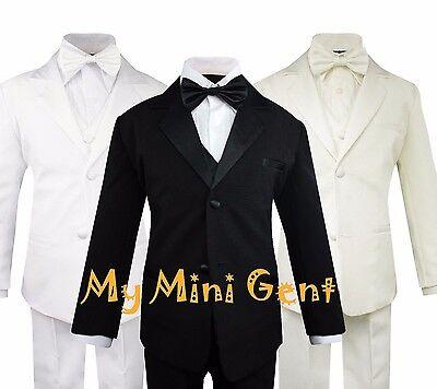 My Mini Gent Boys 5PC Classic Fit Formal Tuxedo Suit Set No Tail Bow Tie - Boys Classic Tuxedo Suit