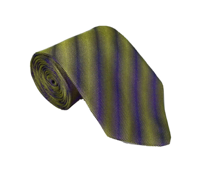 Richard James Savile Row England Gold Purple Abstract Tie 3.5 in W