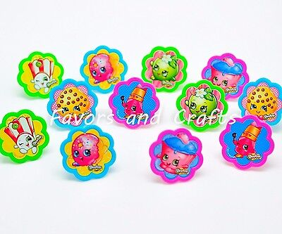 12 PCS Shopkins Cupcake Cake Decorating Supplies Topper Pops Rings - Cake Pops Supplies