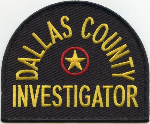 DALLAS COUNTY TEXAS TX INVESTIGATOR Detective POLICE PATCH