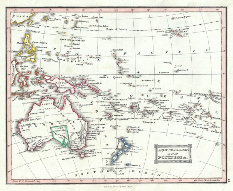 1845 Ewing Map of Australia and Polynesia