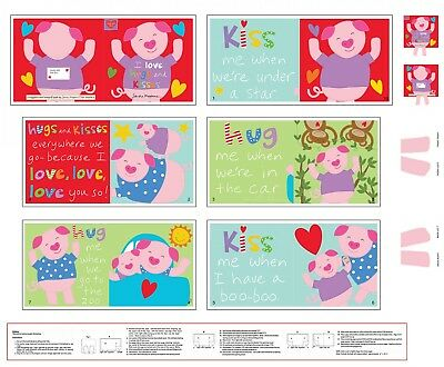 Studio e Fabrics ~ Pig I Love Hugs & Kisses ~ 100% Cotton Soft Fabric Book Panel for sale  USA