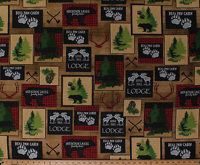Moose Trail Lodge - Cotton Moose Trail Lodge Bears Cabin Northwoods Brown Fabric Print BTY D571.64