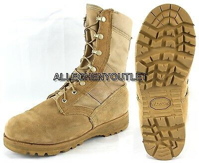 US Military HOT WEATHER COMBAT BOOTS Vibram Sole Desert Tan USA Made MINT 10.5 N
