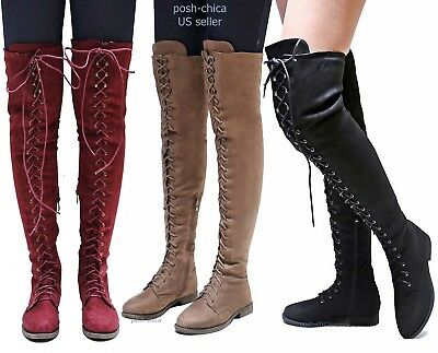 New Women Ti45 Military Combat Over the Knee Lace Up Thigh High Riding Boots