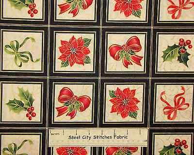 Holiday Magic Bow Poinsettia Christmas Gold Accent Blocks QT Cotton Fabric YARD