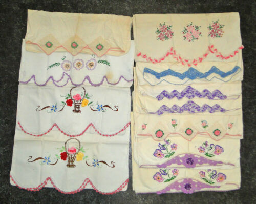 11 Vintage Pillowcase Lot Hand Embroidered Crocheted 3 Sets Crafts Cutter