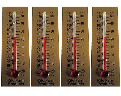 4 Pack Rite Farm Products Glass Temperature Thermometer Egg Incubators Chickens