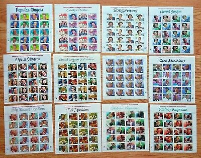 Music Stamp Series - New 12 Sheets LEGENDS OF AMERICAN MUSIC SERIES 29¢, 32¢, 33¢ US PS Postage Stamp