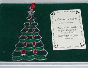 TREE-Christmas-Ornament-O-Holy-Night-Pewter-NEW-Crystal-Star-Topper-Glitter-Red